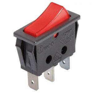 Interruptor luminoso rojo rectangular 3 contactos